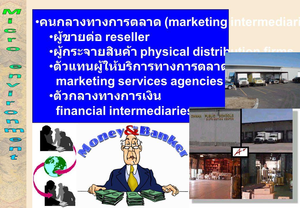 Micro environment คนกลางทางการตลาด (marketing intermediaries)