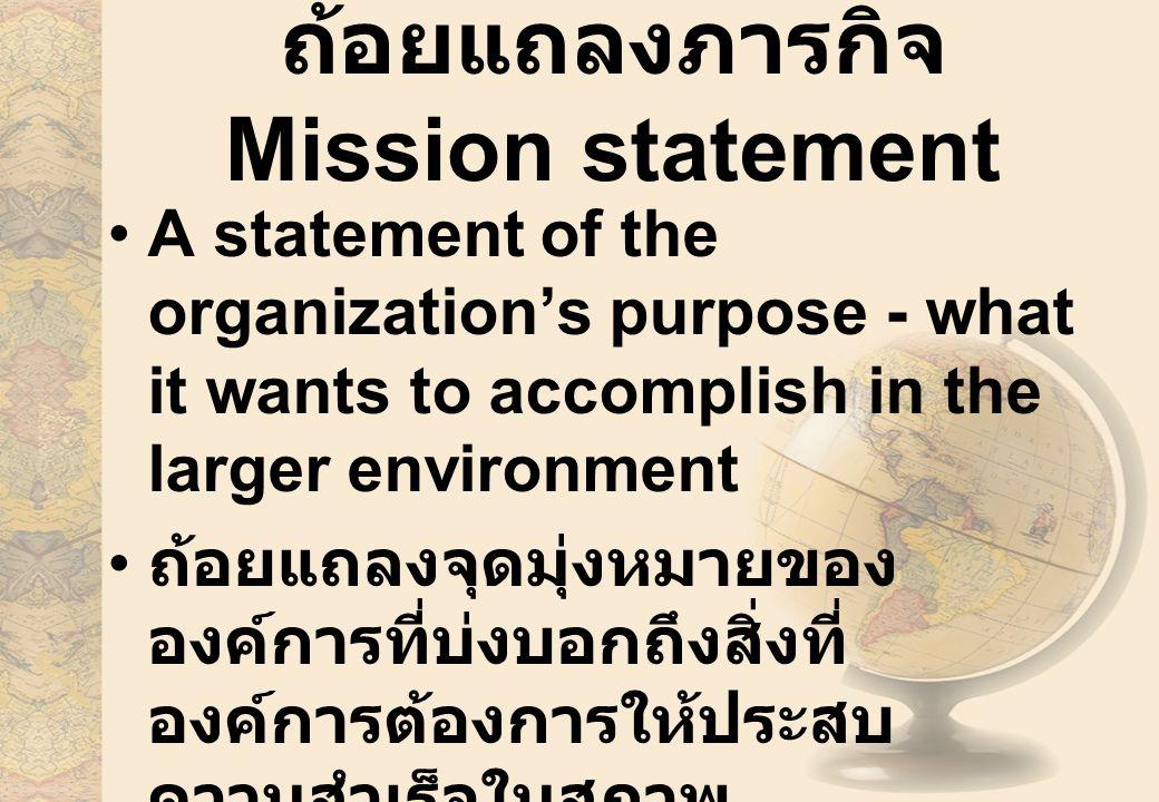 ถ้อยแถลงภารกิจ Mission statement