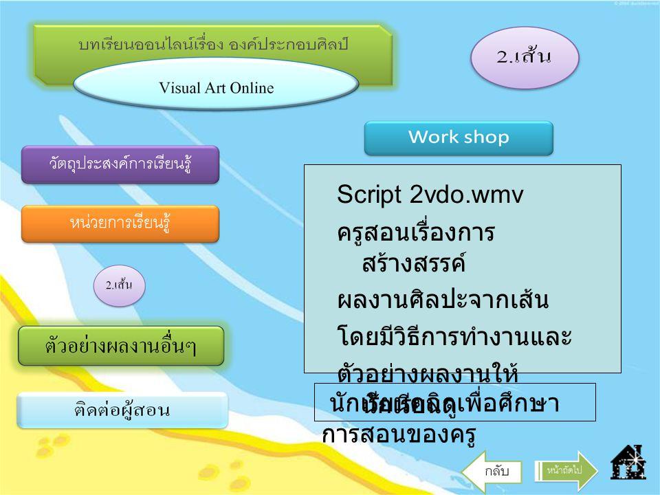 Script 2vdo.wmv ครูสอนเรื่องการสร้างสรรค์ ผลงานศิลปะจากเส้น. โดยมีวิธีการทำงานและ. ตัวอย่างผลงานให้นักเรียนดู