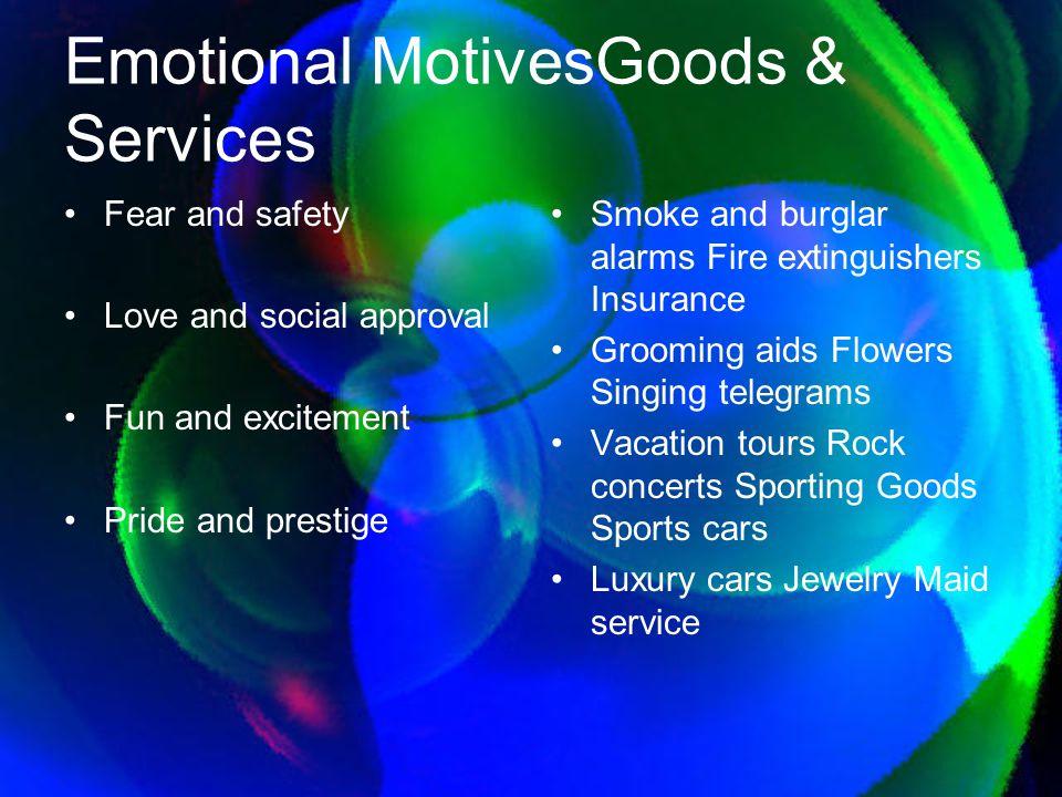 Emotional Motives Goods & Services