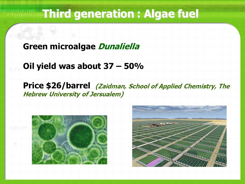 Third generation : Algae fuel