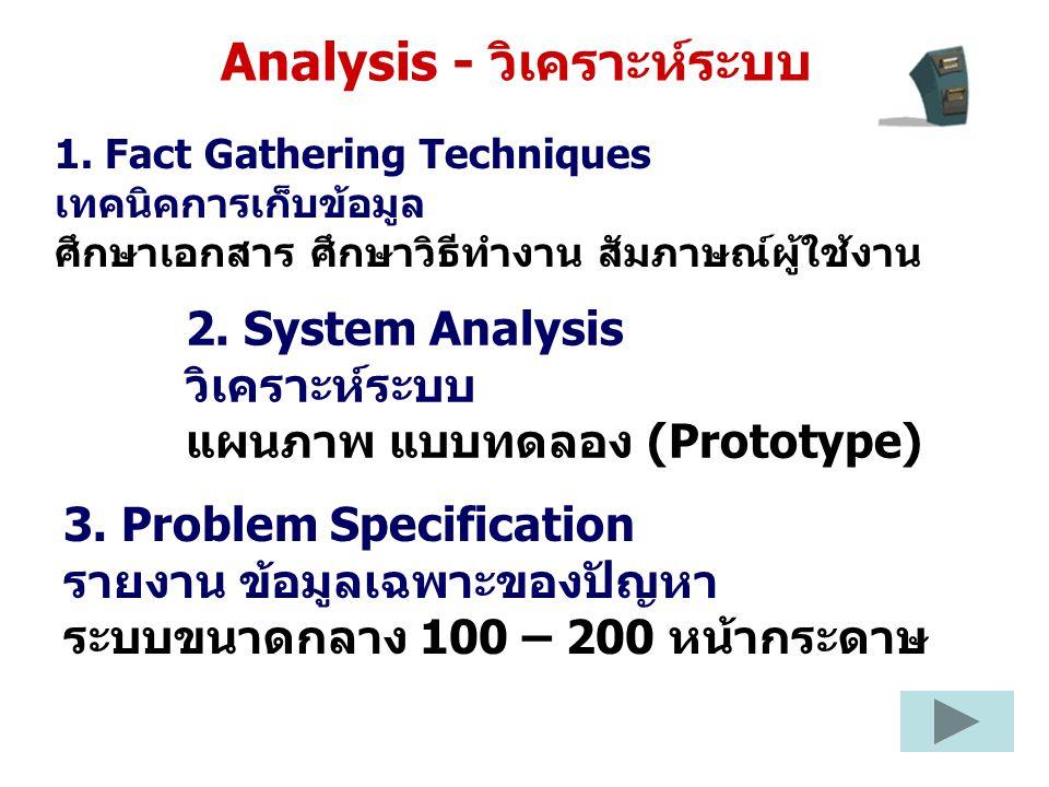 Analysis - วิเคราะห์ระบบ