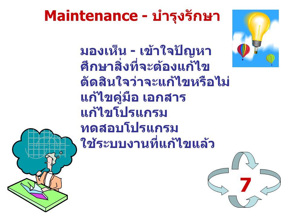 7 Maintenance - บำรุงรักษา มองเห็น - เข้าใจปัญหา