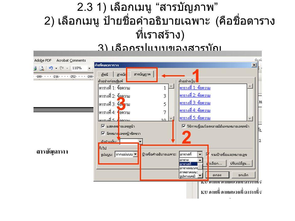 2.3 1) เลือกเมนู สารบัญภาพ 2) เลือกเมนู ป้ายชื่อคำอธิบายเฉพาะ (คือชื่อตารางที่เราสร้าง) 3) เลือกรูปแบบของสารบัญ