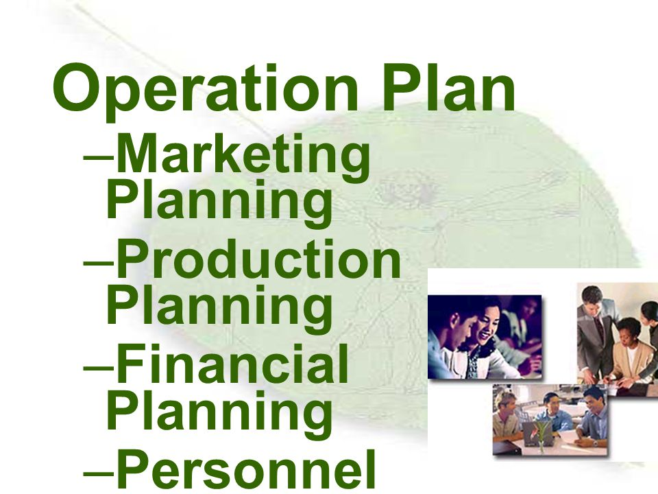Operation Plan Marketing Planning Production Planning