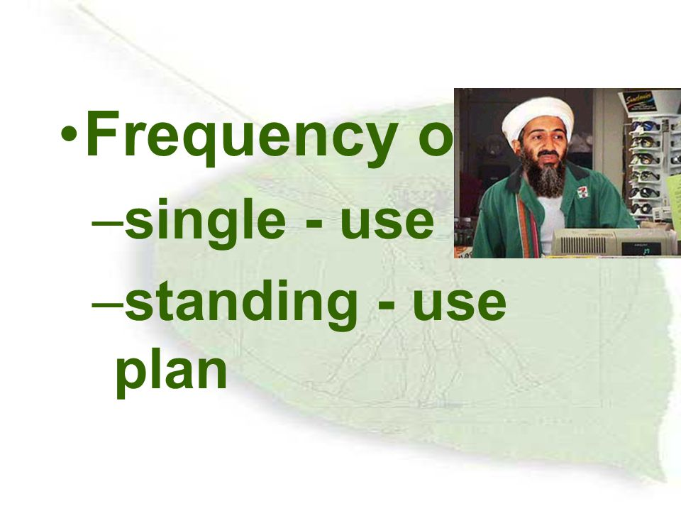 Frequency of use single - use plan standing - use plan