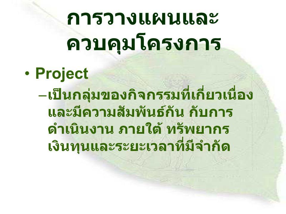 การวางแผนและควบคุมโครงการ