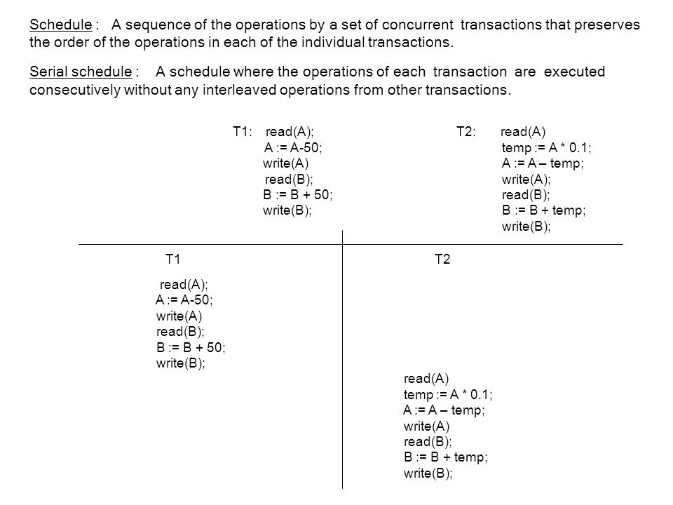 Schedule : A sequence of the operations by a set of concurrent transactions that preserves the order of the operations in each of the individual transactions.