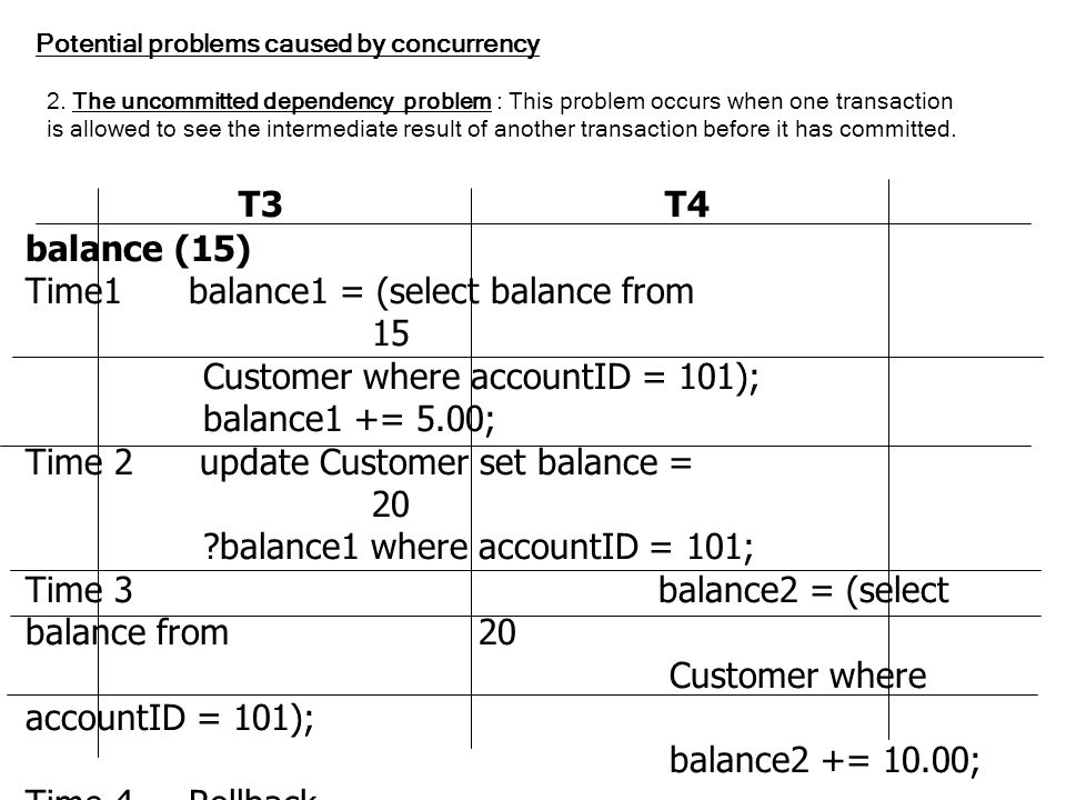 T3 T4 balance (15) Time1 balance1 = (select balance from 15