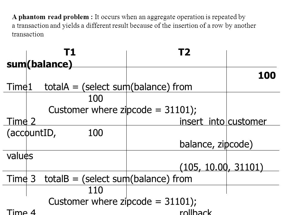 T1 T2 sum(balance) 100 Time1 totalA = (select sum(balance) from 100