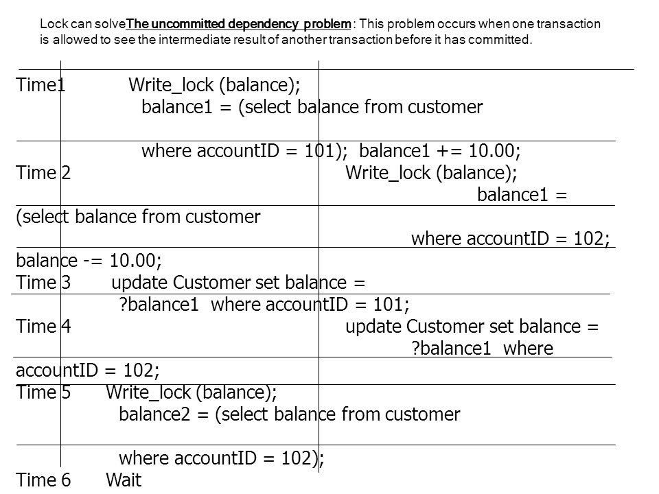 Time1 Write_lock (balance); balance1 = (select balance from customer