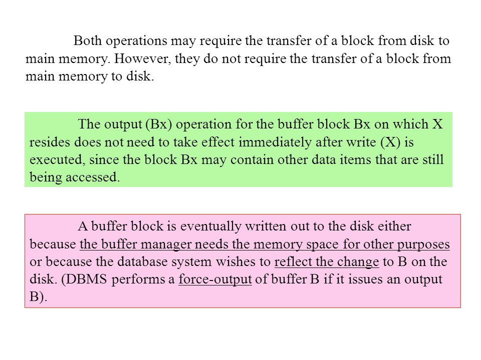 Both operations may require the transfer of a block from disk to main memory. However, they do not require the transfer of a block from main memory to disk.