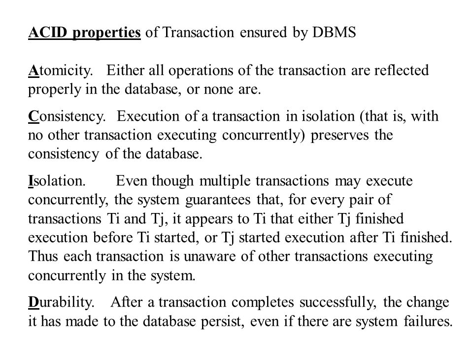 ACID properties of Transaction ensured by DBMS