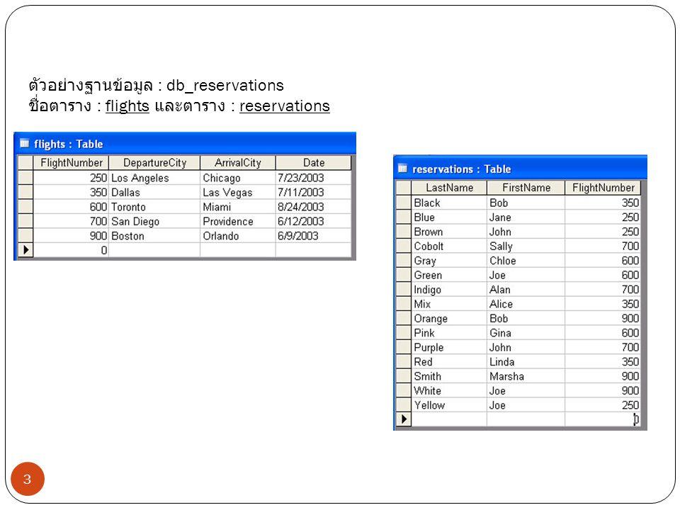ตัวอย่างฐานข้อมูล : db_reservations ชื่อตาราง : flights และตาราง : reservations