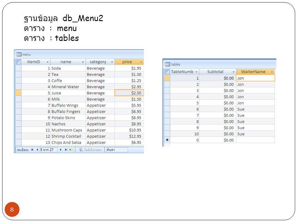 ฐานข้อมูล db_Menu2 ตาราง : menu ตาราง : tables