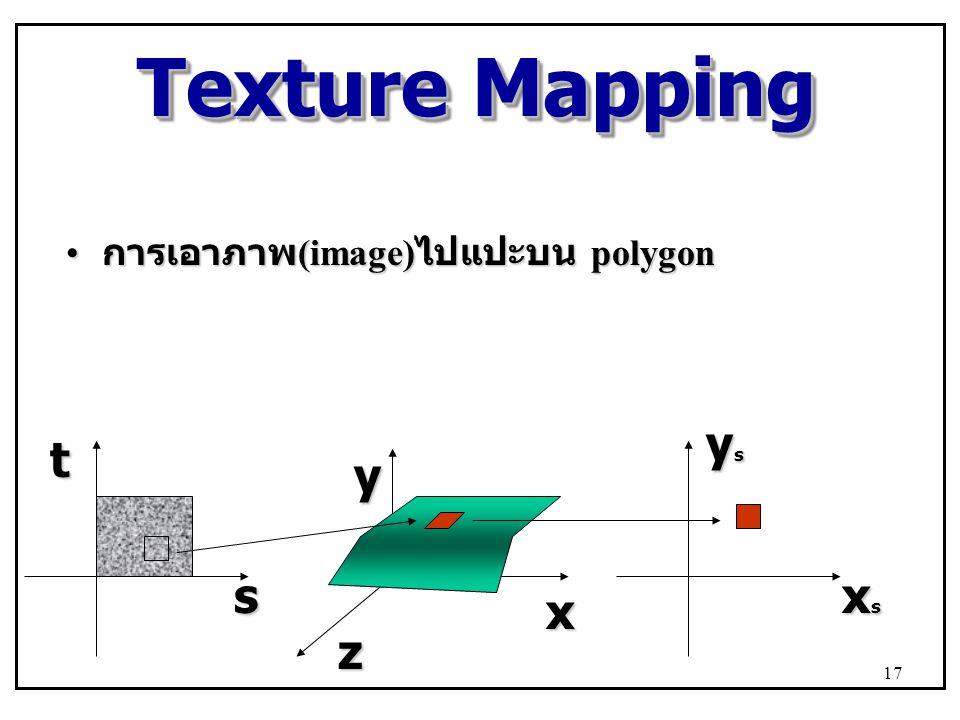 Texture Mapping การเอาภาพ(image)ไปแปะบน polygon xs ys s t x y z