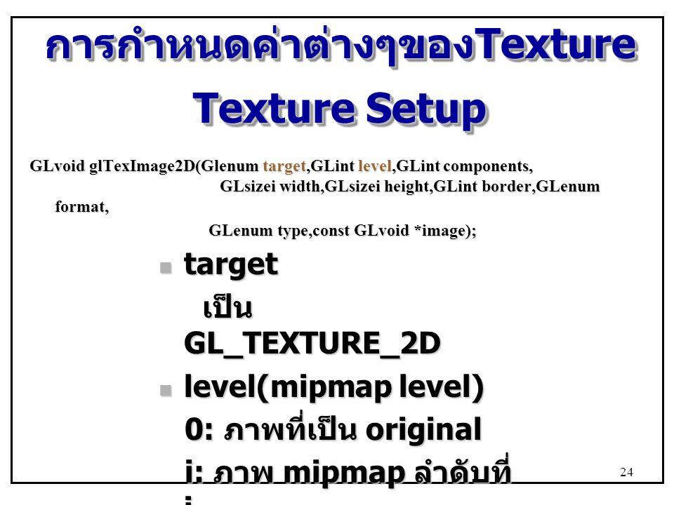 การกำหนดค่าต่างๆของTexture Texture Setup