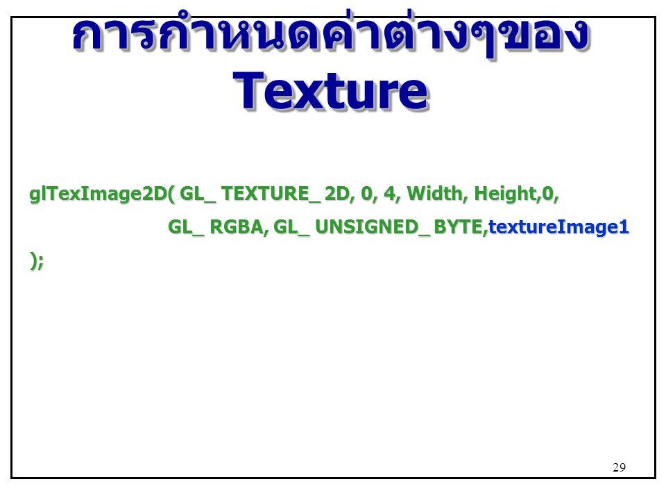การกำหนดค่าต่างๆของ Texture