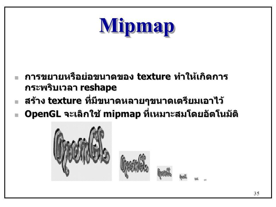 Mipmap การขยายหรือย่อขนาดของ texture ทำให้เกิดการกระพริบเวลา reshape