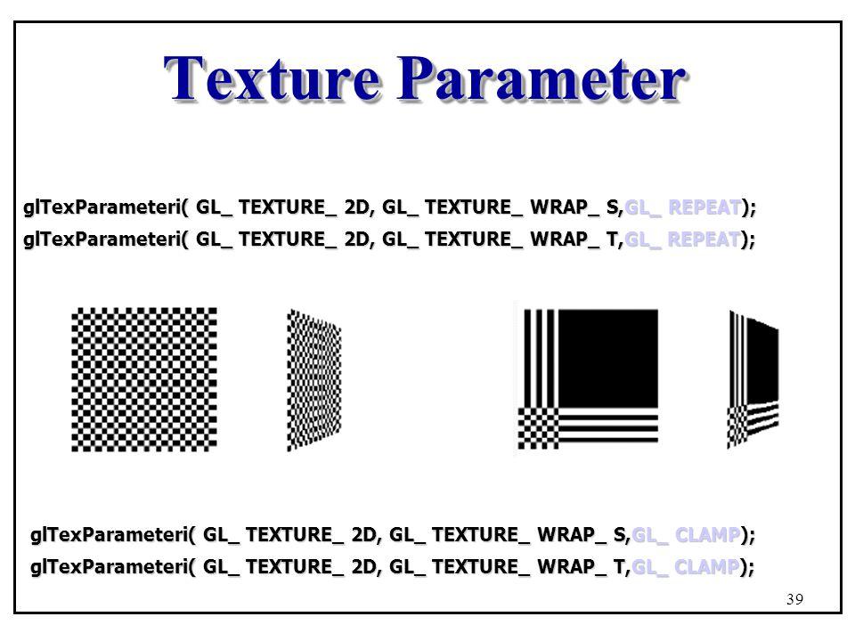 Texture Parameter glTexParameteri( GL_ TEXTURE_ 2D, GL_ TEXTURE_ WRAP_ S,GL_ REPEAT);