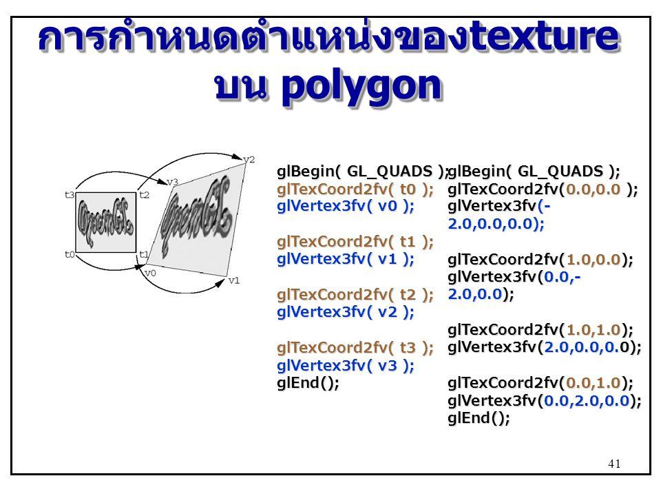 การกำหนดตำแหน่งของtexture บน polygon
