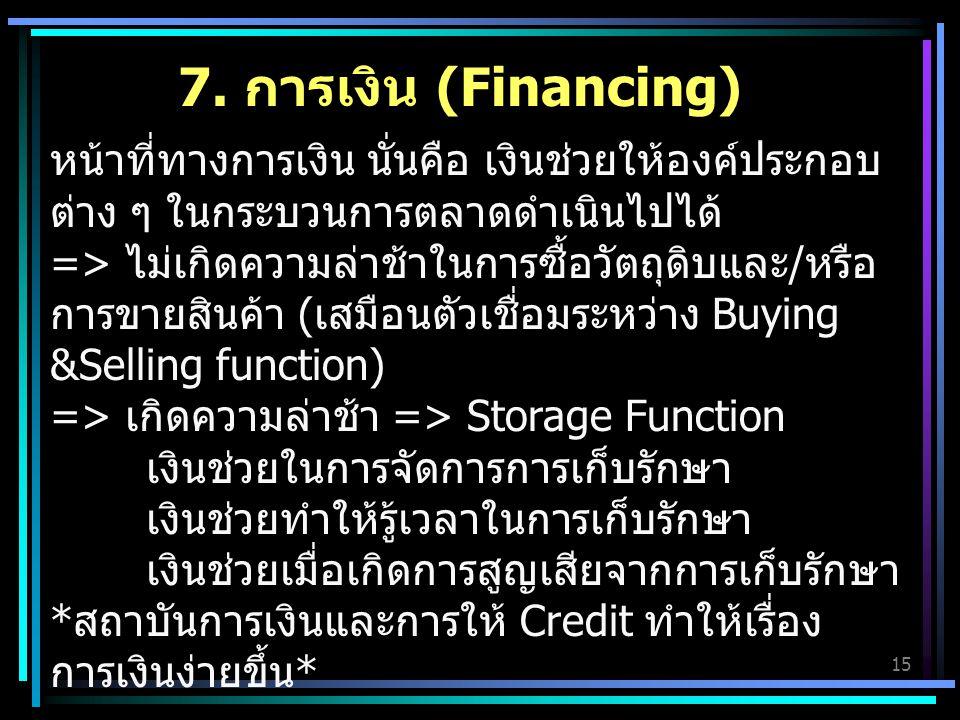 7. การเงิน (Financing)