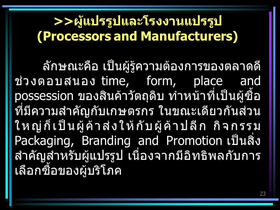 >>ผู้แปรรูปและโรงงานแปรรูป (Processors and Manufacturers)