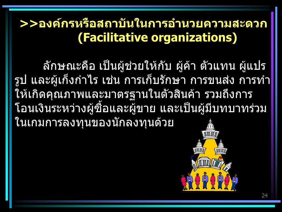 >>องค์กรหรือสถาบันในการอำนวยความสะดวก