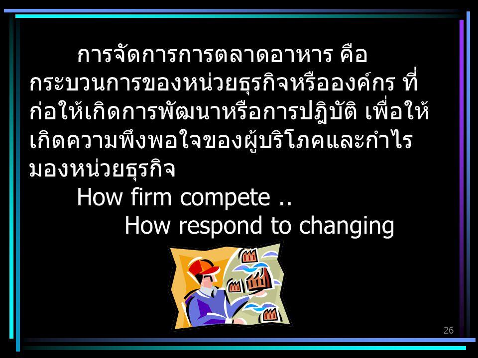 การจัดการการตลาดอาหาร คือ กระบวนการของหน่วยธุรกิจหรือองค์กร ที่ก่อให้เกิดการพัฒนาหรือการปฎิบัติ เพื่อให้เกิดความพึงพอใจของผู้บริโภคและกำไร มองหน่วยธุรกิจ How firm compete ..