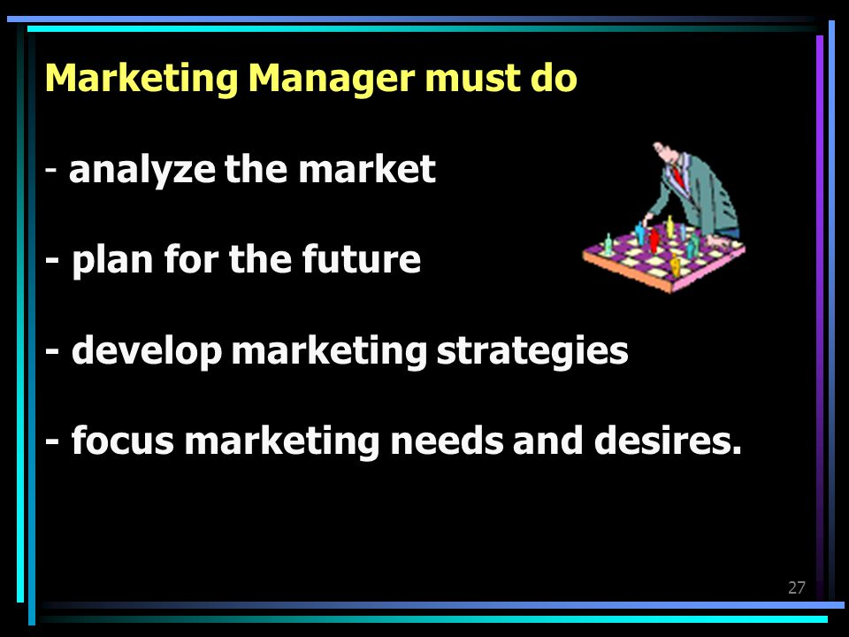 Marketing Manager must do