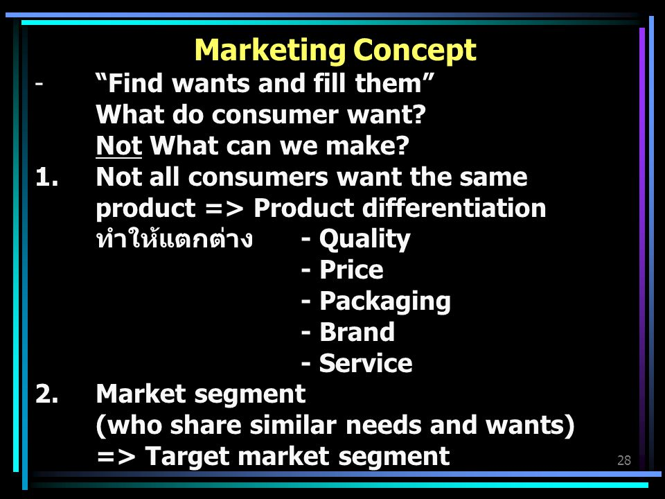 Marketing Concept Find wants and fill them What do consumer want Not What can we make