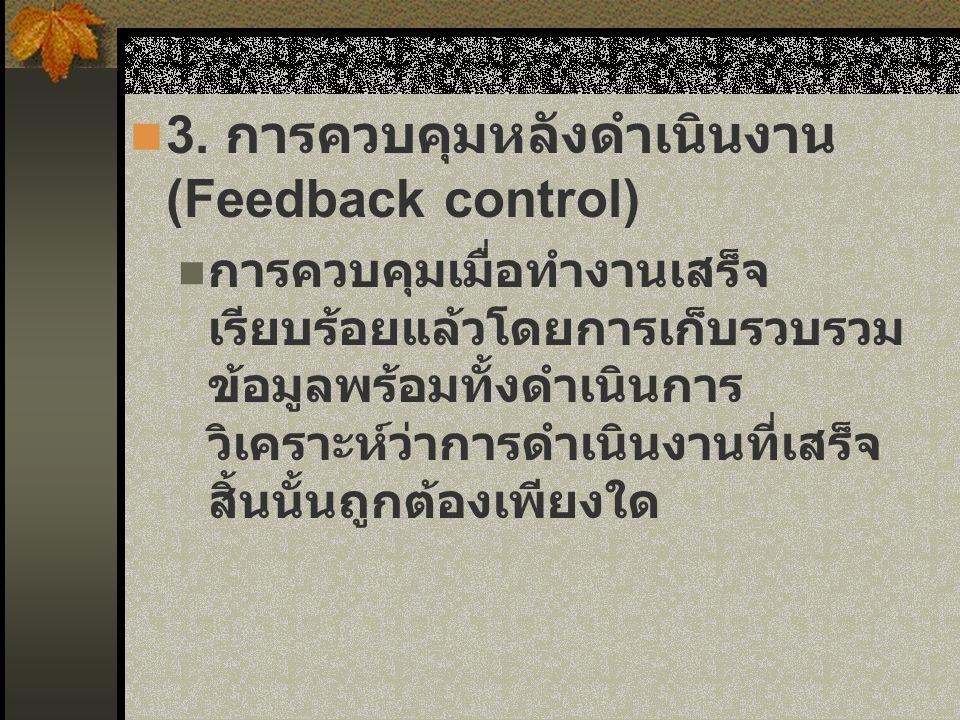 3. การควบคุมหลังดำเนินงาน (Feedback control)
