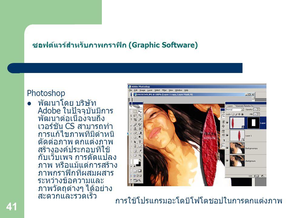 ซอฟต์แวร์สำหรับภาพกราฟิก (Graphic Software)