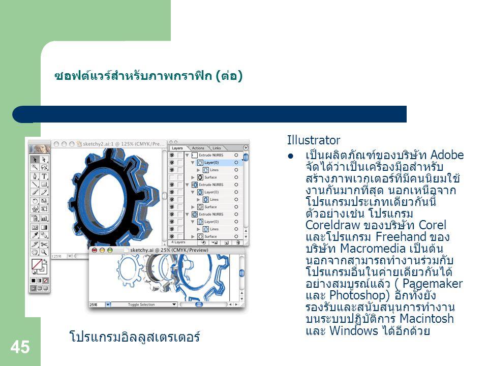 ซอฟต์แวร์สำหรับภาพกราฟิก (ต่อ)