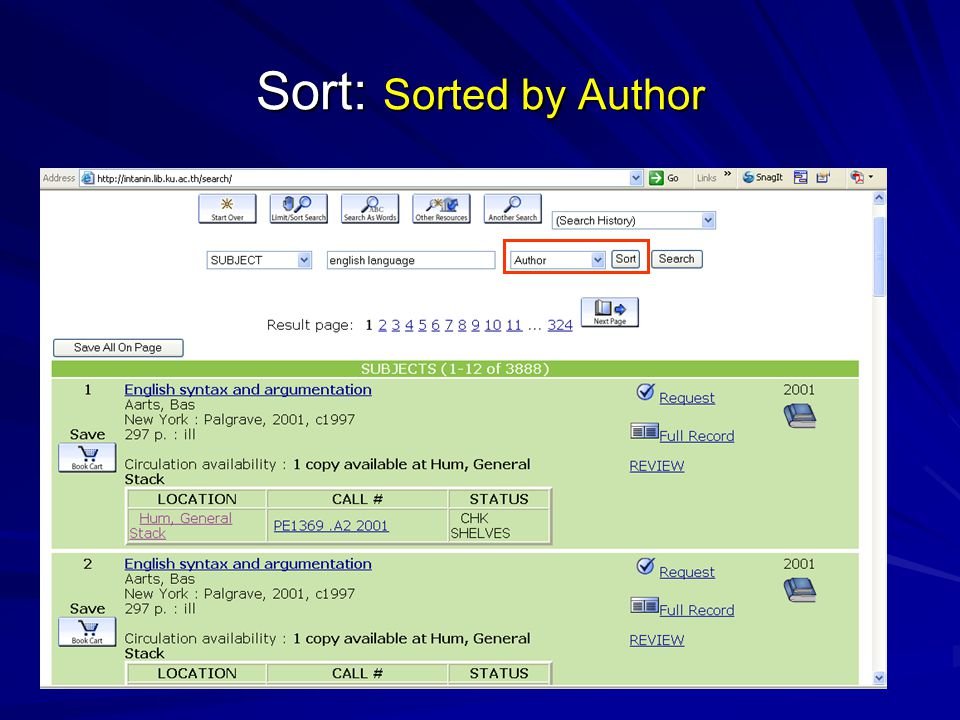Sort: Sorted by Author