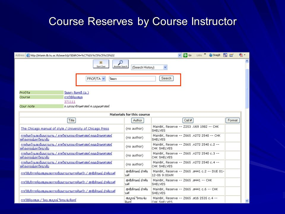 Course Reserves by Course Instructor