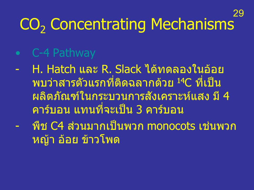 CO2 Concentrating Mechanisms