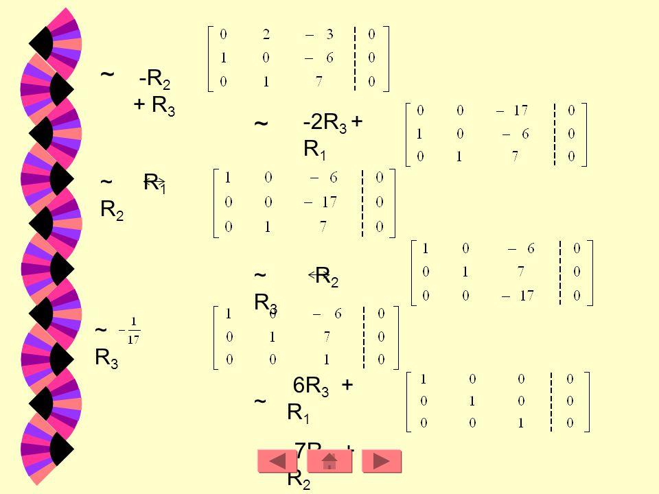 ~ -R2 + R3. ~ -2R3 + R1. ~ R1 R2. ~ R2 R3. ~ R3. 6R3 + R1.
