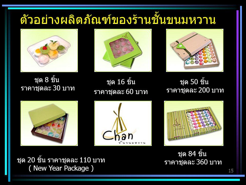 ตัวอย่างผลิตภัณฑ์ของร้านชั้นขนมหวาน