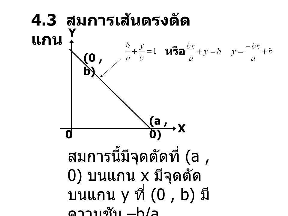 4.3 สมการเส้นตรงตัดแกน Y. หรือ. (0 , b) (a , 0) X.