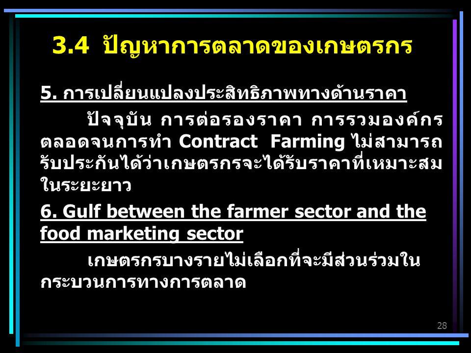 3.4 ปัญหาการตลาดของเกษตรกร