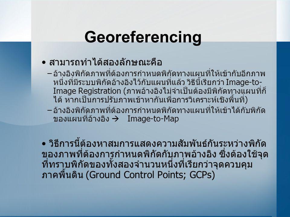 Georeferencing สามารถทำได้สองลักษณะคือ