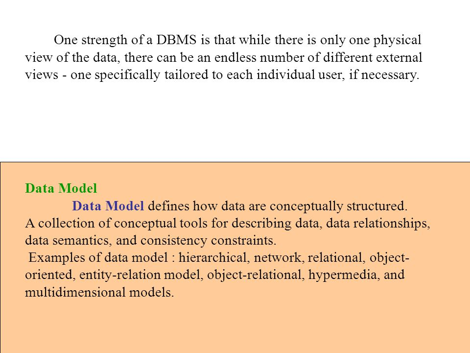 One strength of a DBMS is that while there is only one physical view of the data, there can be an endless number of different external views - one specifically tailored to each individual user, if necessary.