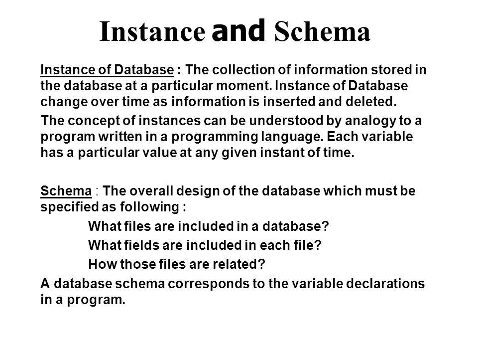 Instance and Schema