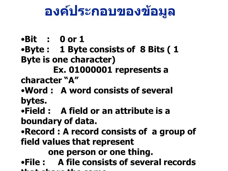 องค์ประกอบของข้อมูล Bit : 0 or 1