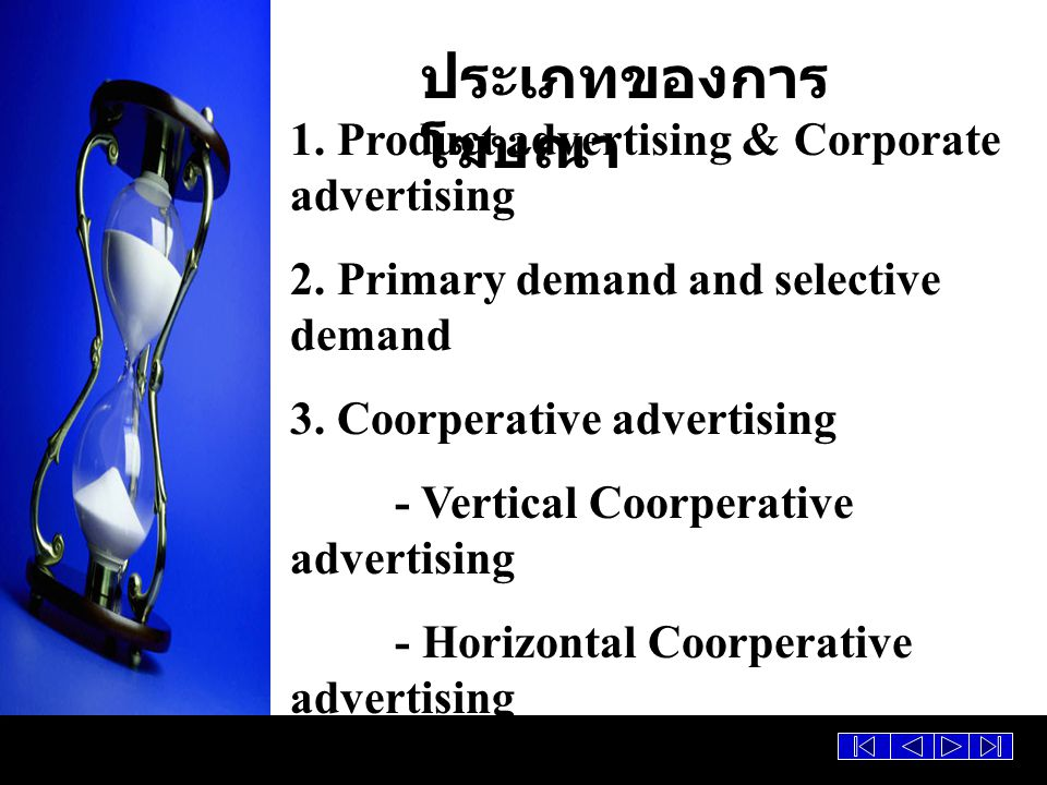 ประเภทของการโฆษณา 1. Product advertising & Corporate advertising
