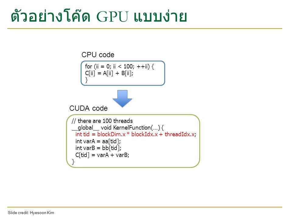 ตัวอย่างโค๊ด GPU แบบง่าย
