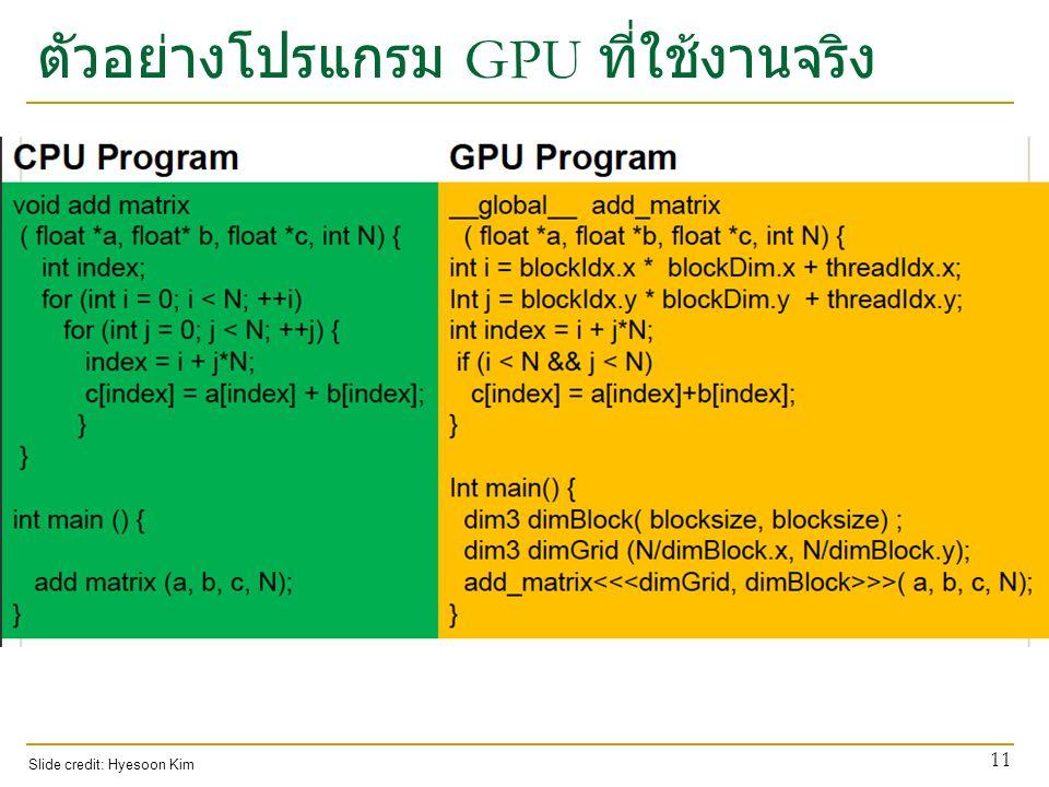ตัวอย่างโปรแกรม GPU ที่ใช้งานจริง