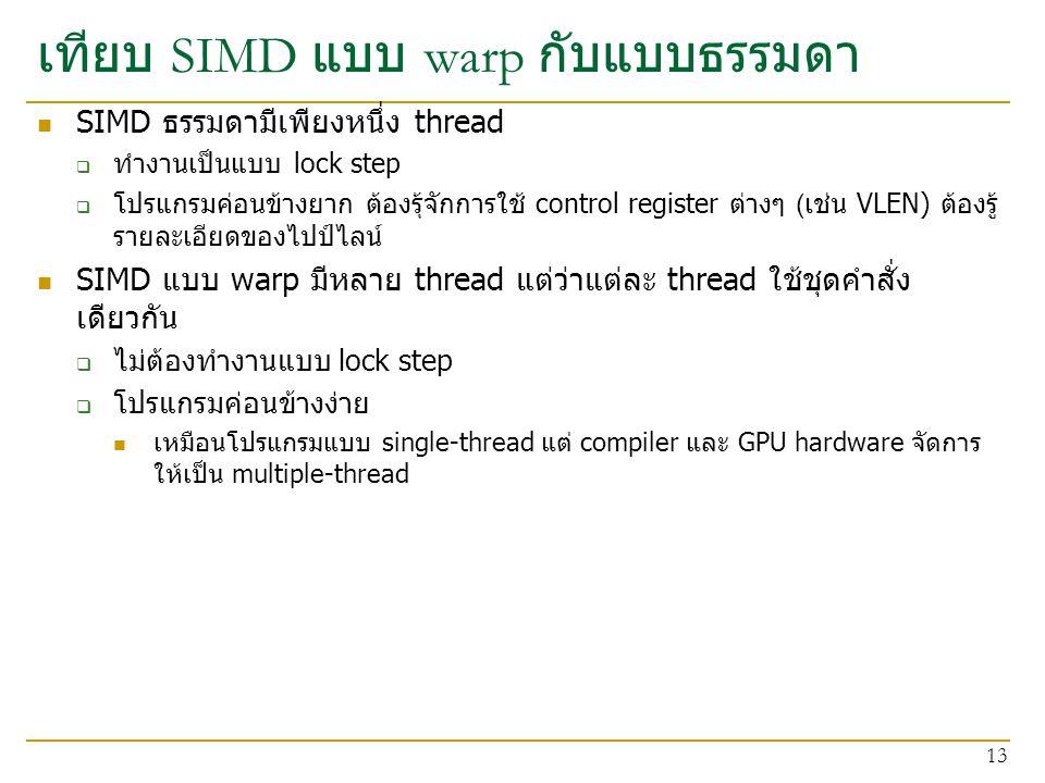 เทียบ SIMD แบบ warp กับแบบธรรมดา