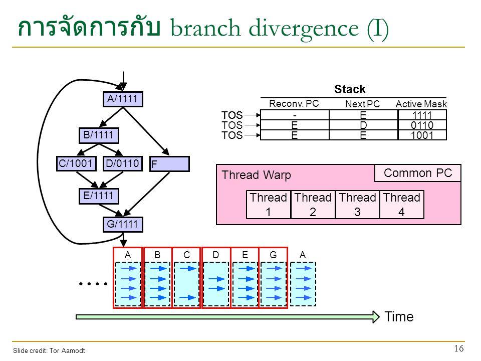 การจัดการกับ branch divergence (I)